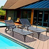 HOMEFUN Chaise Outdoor Aluminum Wheels Lounges Chair Adjustable Reclining Patio Furniture Set, Pack of 2 (Antique Bronze), 2PC