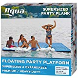 AQUA X-Large Ultimate Floating Mat Raft Island with Expandable Zippers, 1000 Lbs. Capacity, For Lake-Ocean-Pool Floating, Heavy Duty, Navy/White Stripe
