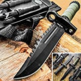 Tactical Knife Hunting Knife Survival Knife 13.75' Fixed Blade Knife With Combat Blade Camping Accessories Camping Gear Survival Kit Survival Gear Tactical Gear 79408 (Olive Green)
