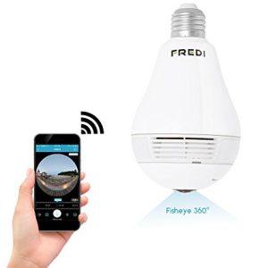 FREDI 360 Wide Angle Fisheye WiFi Hidden Spy Camera Bulb