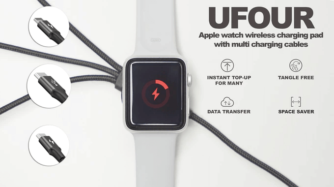 UFour Apple watch wireless pad w multi charging cables