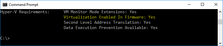 command prompt virtualization enabled in firmware status