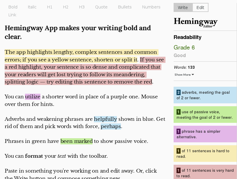 hemingway app grammar punctuation checker