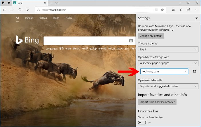 microsoft edge browser settings pane specific page option