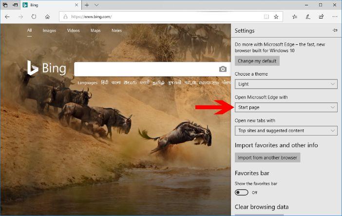 microsoft edge browser settings pane