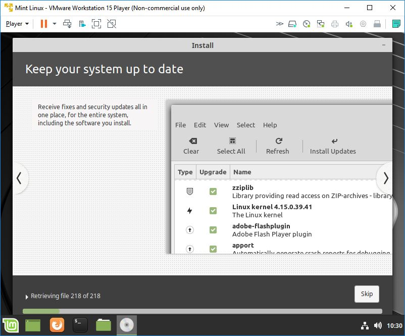 mint linux virtual machine installation copying files 10