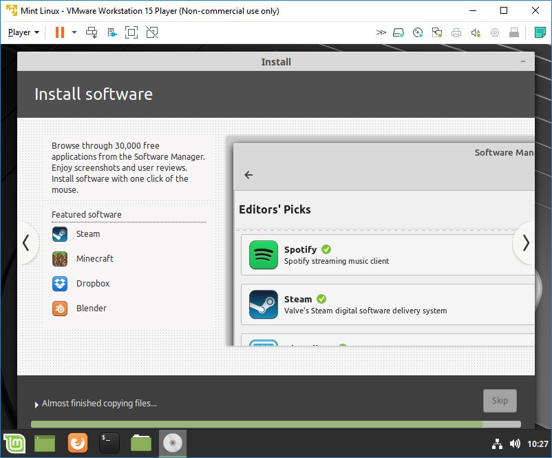 mint linux virtual machine installation copying files 7