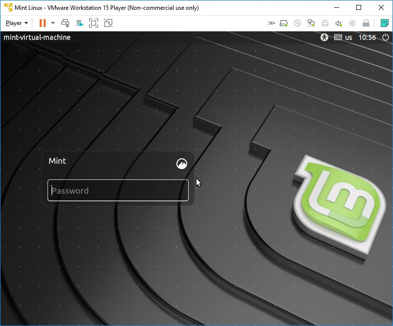 mint linux virtual machine login prompt