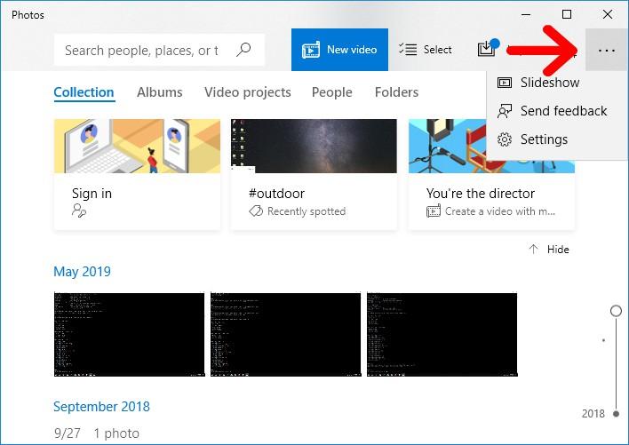 photos viewer menu
