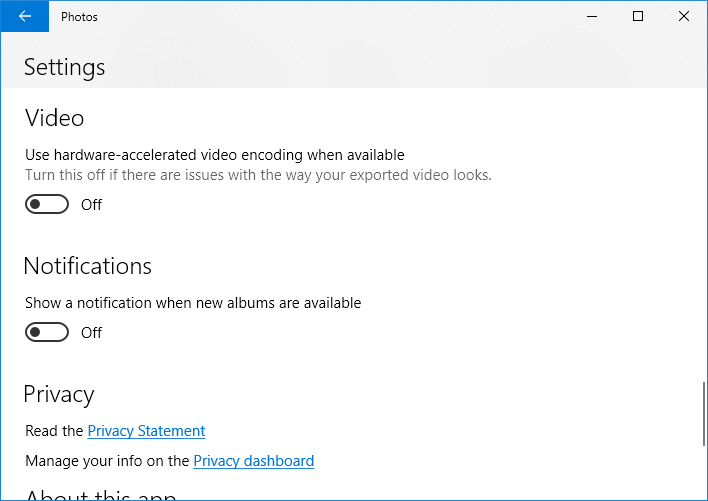 photos viewer settings video notifications