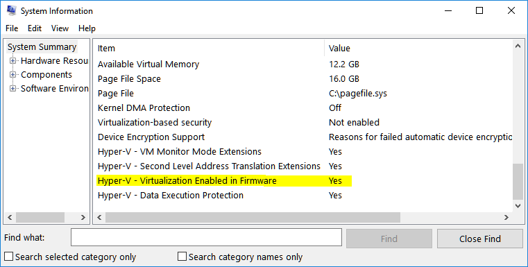 system information virtualization enabled in firmware status