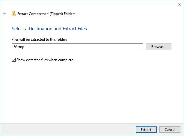 unzip uncompress destination folder