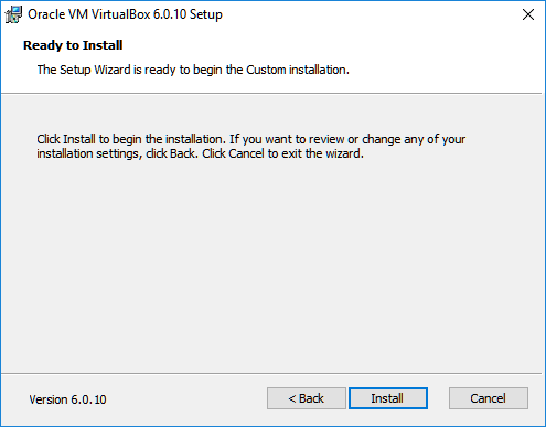 virtualbox install confirmation