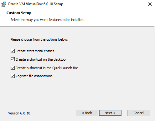 virtualbox install menu options