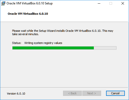virtualbox install progress writing registry