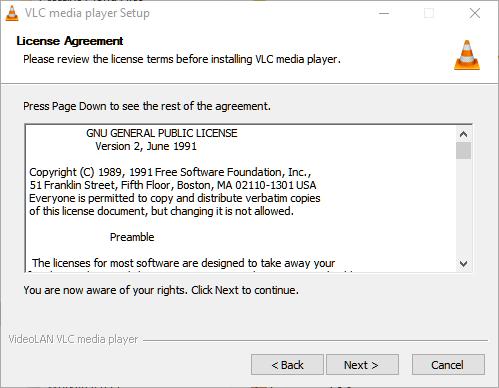 vlc media player install license
