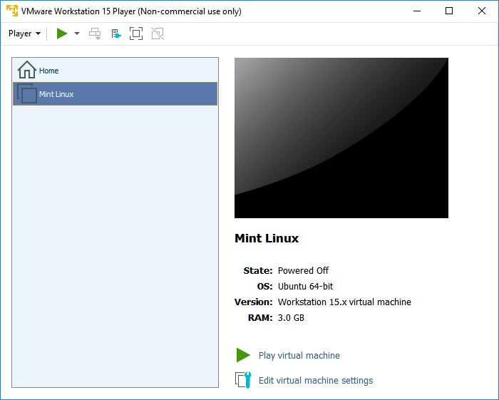 vmware workstation player mint linux powered off