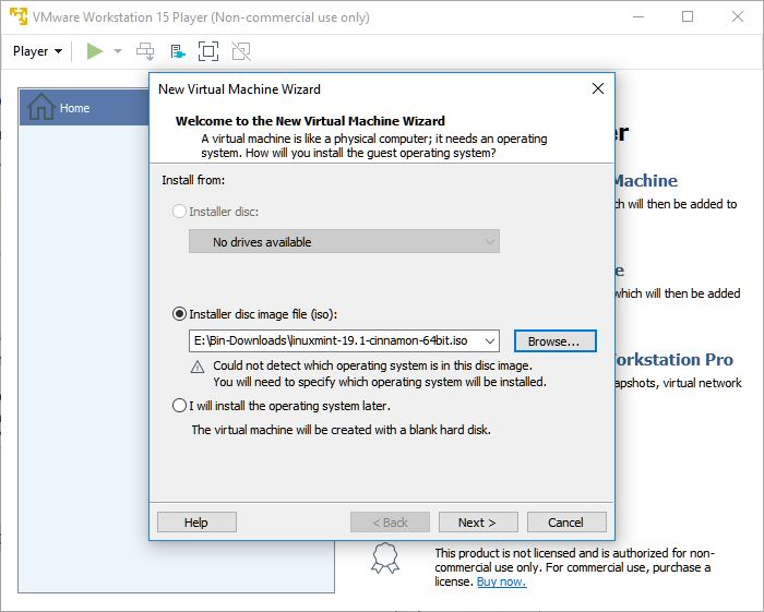 vmware workstation player new virtual machine wizard os image file selection